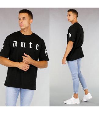 Zwart Oversized Heren Shirt met Opdruk