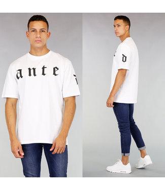 !SALE40 Wit Oversized Heren Shirt met Opdruk