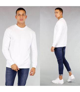 !OP=OP Witte Basic Sweater met Kangoeroezak
