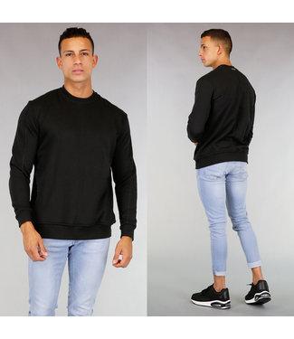 !OP=OP Zwarte Basic Sweater met Kangoeroezak