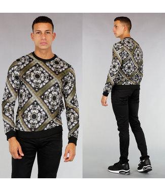 Zwarte Sweater met Ornamental Print