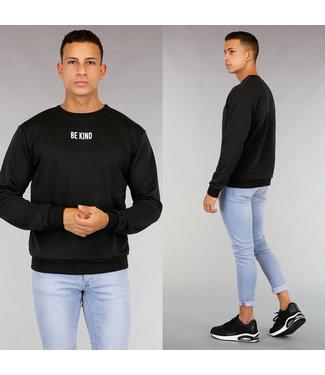 Zwarte Be Kind Heren Sweater