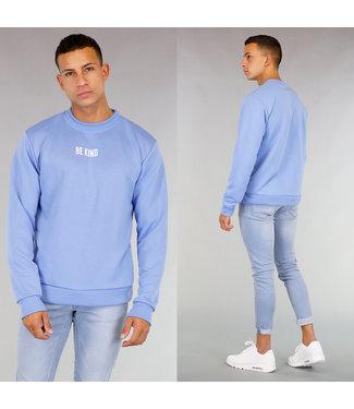 Lichtblauwe Be Kind Heren Sweater