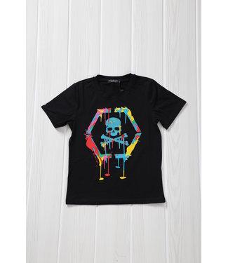 Zwart Kids Skull Shirt met Verfspatten