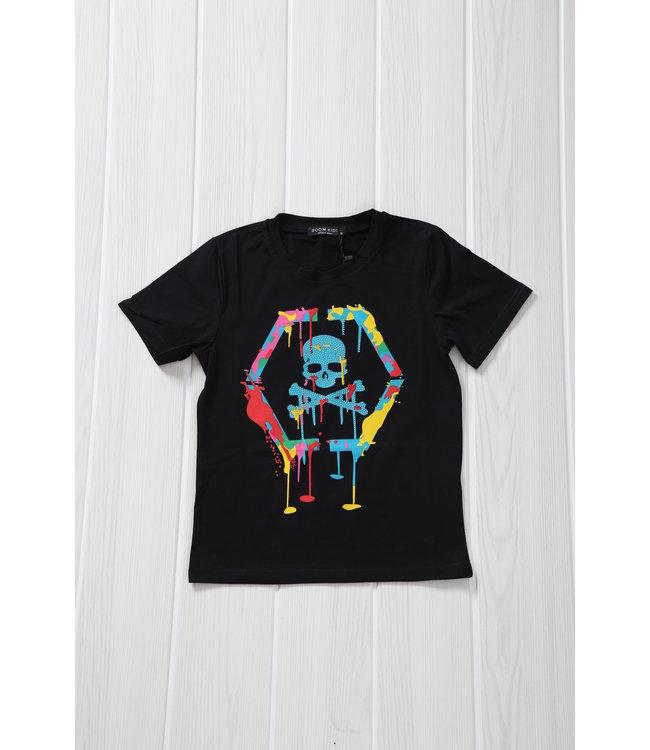 NEW! Zwart Kids Skull Shirt met Verfspatten