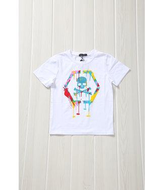 !SALE40 Wit Kids Skull Shirt met Verfspatten
