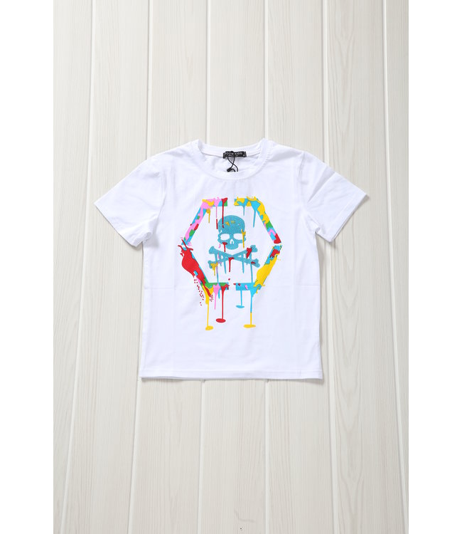 NEW! Wit Kids Skull Shirt met Verfspatten