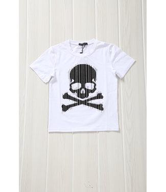 !SALE40 Wit Kids Shirt met Skull