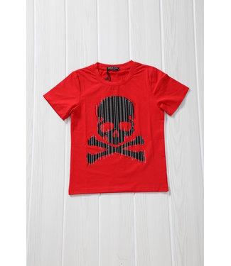 !SALE40 Rood Kids Shirt met Skull