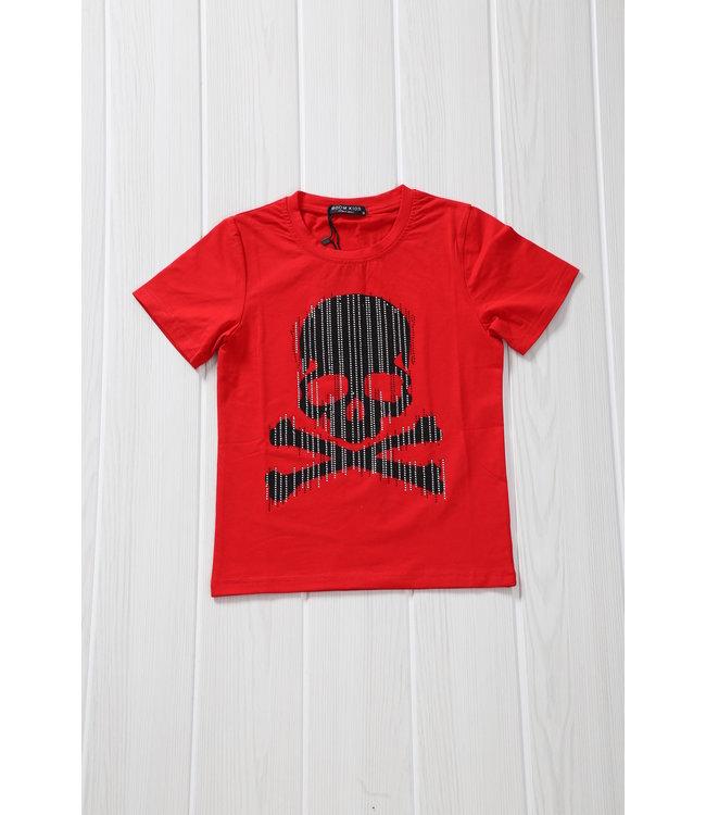 NEW! Rood Kids Shirt met Skull