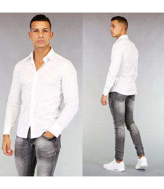 NEW! Wit Heren Casual Slim Fit Overhemd