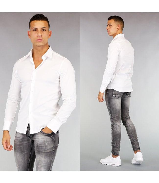 Wit Casual Slim Fit  Heren Overhemd