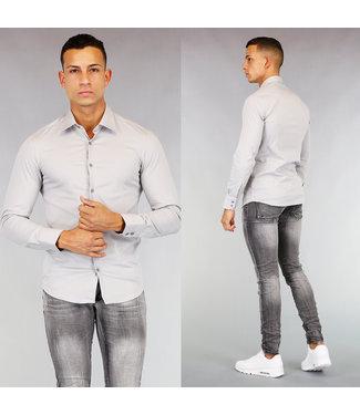 NEW! Grijs Heren Casual Slim Fit Overhemd