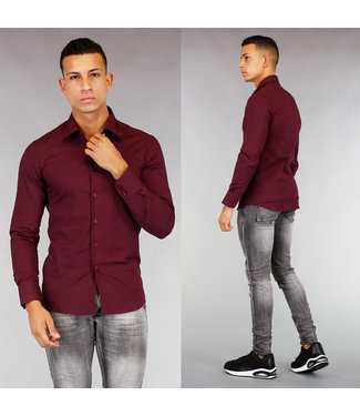 NEW! Wijnrood Casual Slim Fit Overhemd