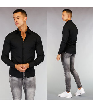 Zwart Casual Slim Fit  Heren Overhemd