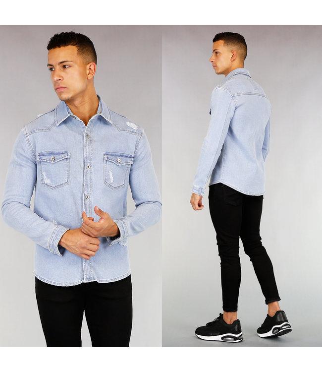 Lichtblauwe Heren Jeans Blouse met Krassen
