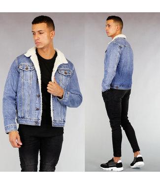 Gevoerde Heren Spijker Jacket Lichtblauw