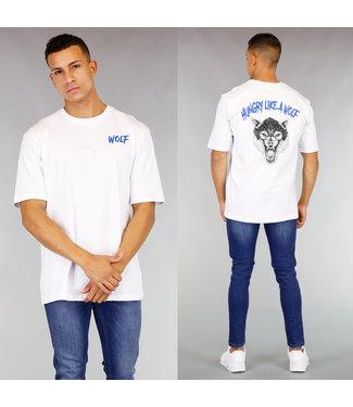 !OP=OP Wit Heren Wolf Shirt met Strass