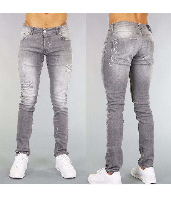 !OP=OP Grijze Slim Fit Heren Jeans met Scheuren en Verfspatten