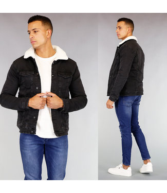 Zwarte Old Look Gevoerde Heren Denim Jacket