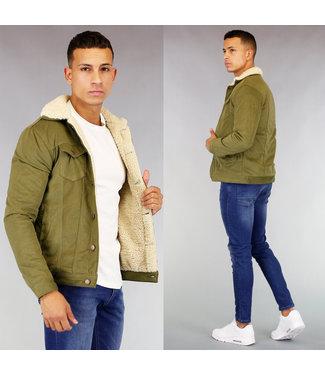 Olijfgroen Gevoerd Heren Rib Jacket