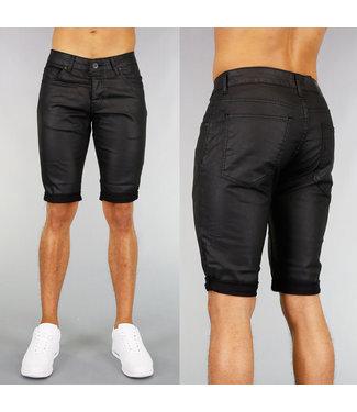 !SALE40 Zwarte Lederlook Heren Short