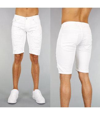 !SALE40 Damaged Witte Heren Jeans Short met Verfspatten
