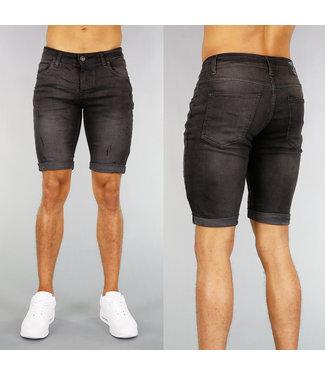 !SALE40 Basic Grijs Jeans Heren Short met Krassen