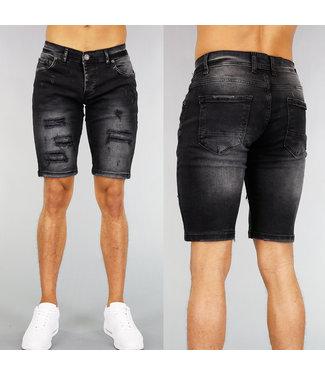 !OP=OP Zwarte Heren Jeans Short met Scheuren