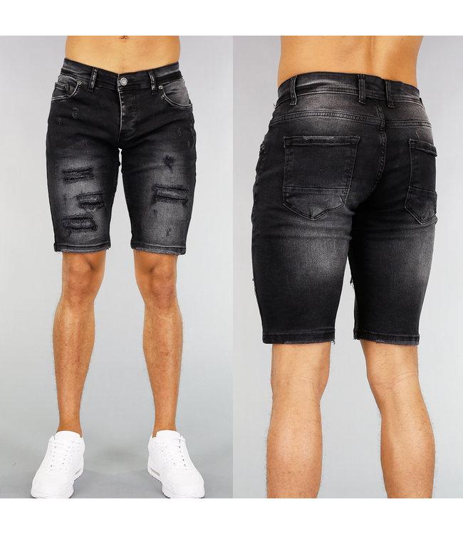 !SALE40 Zwarte Heren Jeans Short met Scheuren