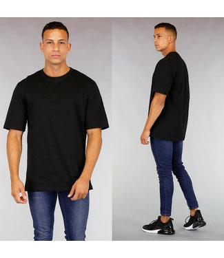 Oversized Zwart Katoenen Heren T-Shirt