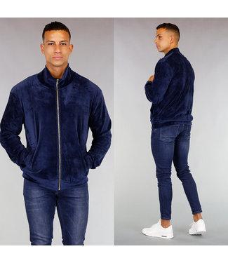 Comfy Donkerblauw Velvet Heren Vest