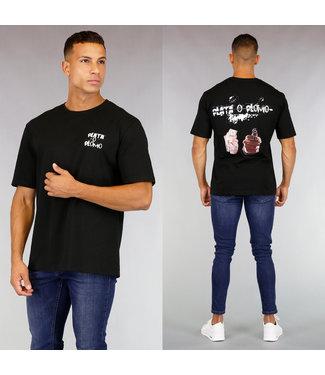 !OP=OP Zwart Heren T-Shirt Tekst en Rug Bedrukking