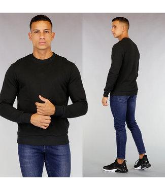 Zwarte Katoenen Heren Sweater