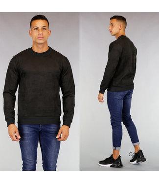 Zwarte Suède-Look Heren Sweater