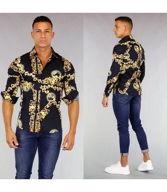 !OP=OP Zwart Heren Overhemd met Gouden Print