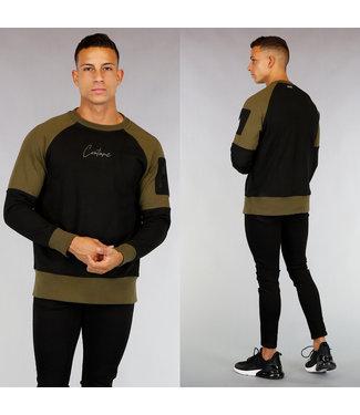 !OP=OP Zwart/Kaki Katoenen Heren Sweater