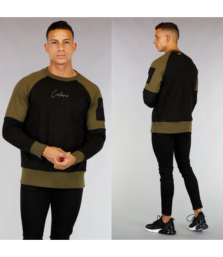Zwart/Kaki Katoenen Heren Sweater