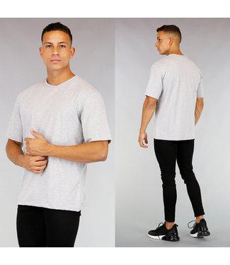 Oversized Grijs Katoenen Heren T-Shirt