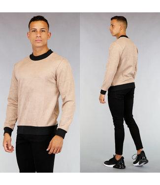 Beige Suède-Look Heren Sweater