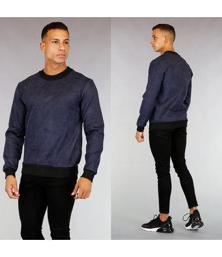 Donkerblauwe Suède-Look Heren Sweater