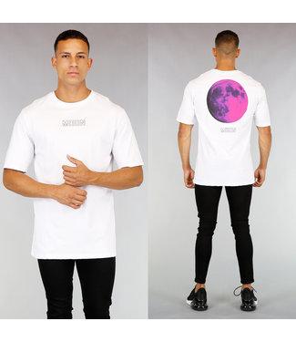Wit Oversized Moon Heren Shirt