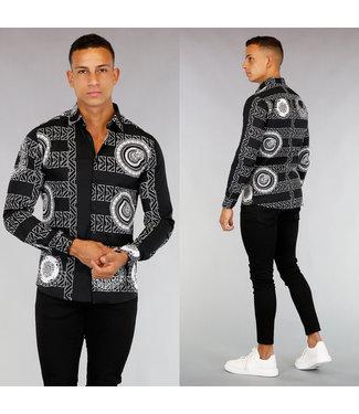 !OP=OP Zwart Heren Overhemd met Grafische Print