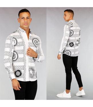 !OP=OP Wit Heren Overhemd met Grafische Print