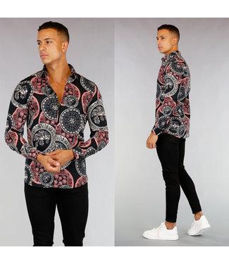 Zwart Heren Overhemd met Print