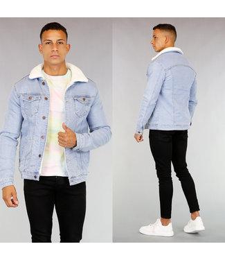 Lichtblauw Gevoerd Heren Denim Jacket