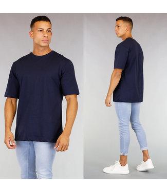 Oversized Blauw Katoenen Heren T-Shirt