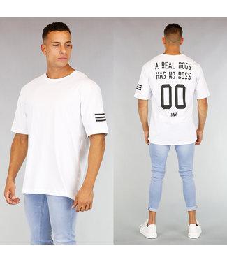 Wit Heren T-Shirt met Bedrukte Rug