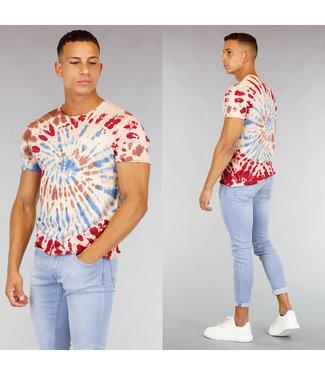 Heren Tie Dye Shirt Rood