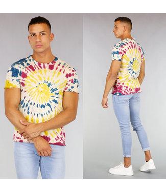 Heren Tie Dye Shirt Geel